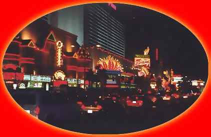 The famous Las Vegas strip by  night
